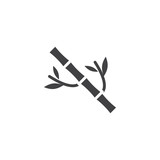Bamboo tree with leaves vector icon. filled flat sign for mobile concept and web design. Branch of bamboo simple solid icon. Symbol, logo illustration. Pixel perfect vector graphics