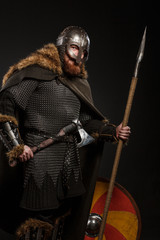 Warrior Viking in full arms with axe, shield and spear on dark background © Fotokvadrat