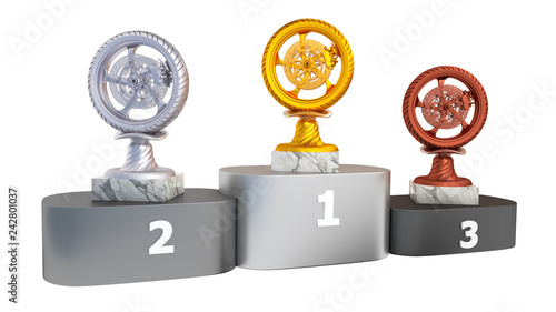 Sport Wheel Motorbike Gold Silver and Bronze Trophies with Marble Bases on a Podium