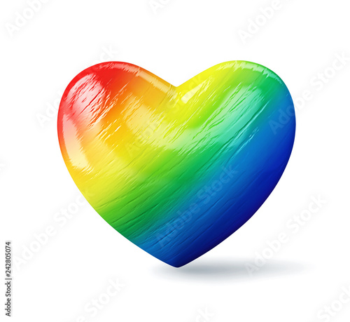 Rainbow heart isolated on a white background, clipping path included