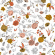 Floral vector seamless pattern with  flowers, berries, leaves and twigs. Beautiful hand drawn bouquets in pastel colors in vintage style. - 242805448