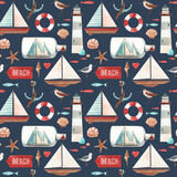 Watercolor marine pattern - 242805660