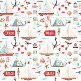 Watercolor marine pattern - 242805677