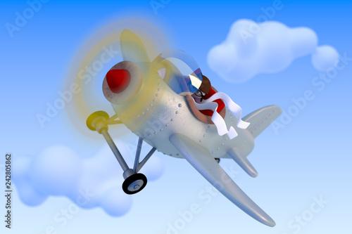 Petit avion avec pilote - image 3D