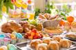 Leinwandbild Motiv Table with delicatessen ready for Easter brunch