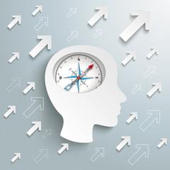 Human Head Brain Arrows Growth Success Compass