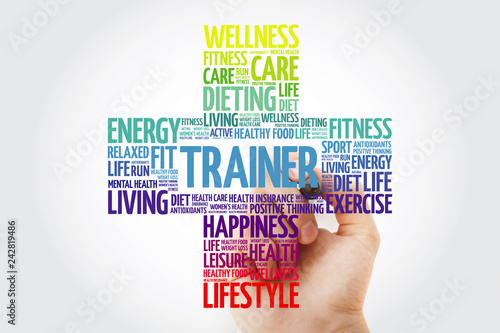 Trainer word cloud with marker, health cross concept | Buy Photos