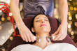 Leinwanddruck Bild - people, beauty, cosmetology and technology concept - beautiful young woman having needle free mesotherapy or hydradermie facial treatment by microcurrent firming device in spa