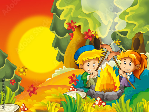 cartoon autumn nature background with kids having fun camping with tent and grilling - illustration for children - 242834681