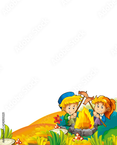 cartoon autumn nature background with kids having fun camping with tent and grilling with space for text - illustration for children - 242835221