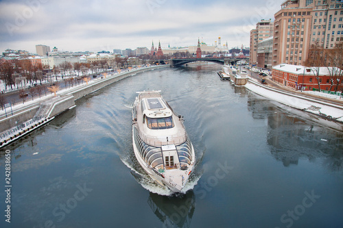 Moscow Kremlin and river day winter panorama