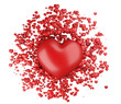 Big heart with small red hearts.