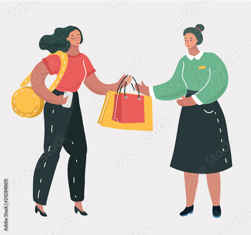 Shopping woman with consultant.