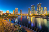 Seoul city with Beautiful at night, Central park in Songdo International Business District, Incheon South Korea. - 242849693
