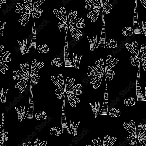 Monochromatic drawing of palm tree with funny heart shaped leaves, white line art on black background, repeat seamless pattern tile.