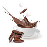 Hot chocolate in a white cup. Chunks of chocolate and marshmallow fall into the cup. Vector illustration on white background. - 242858073