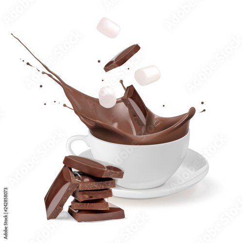 Hot chocolate in a white cup. Chunks of chocolate and marshmallow fall into the cup. Vector illustration on white background.