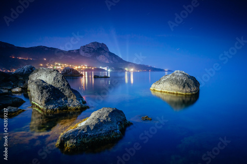 Magical Black sea in the evening light. Breathtaking scene.