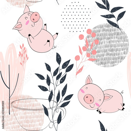 mata magnetyczna hand drawn vector seamless pattern with pigs.