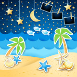 Summer seascape by night with photo frames - 242860031