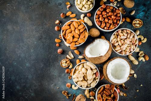 fototapeta na ścianę Various types of nuts