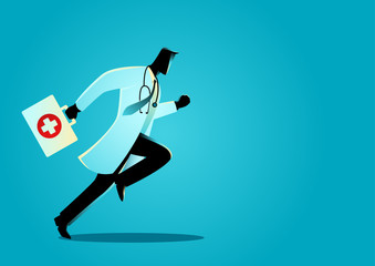 Doctor running with suitcase
