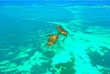 Aerial view of a beautiful rocky reef at low tide in idyllic calm turquoise blue and green sea water