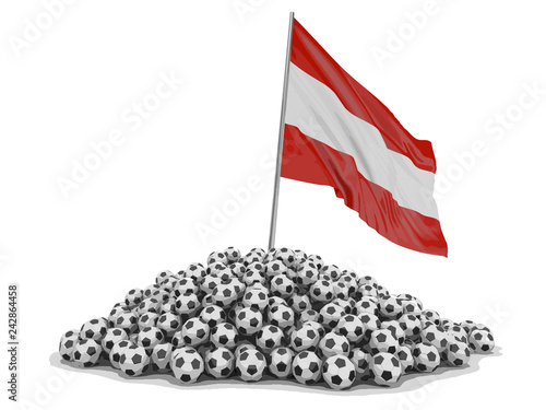 Pile of Soccer footballs and Austrian flag