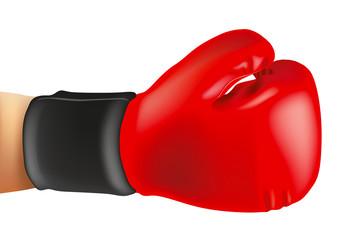 Symbole de force et de victoire avec le bras d'un boxeur prolongé par un gant de boxe rouge.