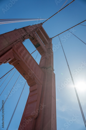 obraz PCV San Francisco Golden Gate Bridge, looking up at one of the suspension towers