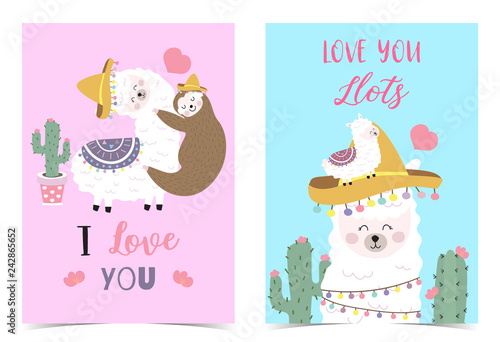 7d82da4b7 Blue pink hand drawn cute card with llama,sloth,hat,heart.I love you ...