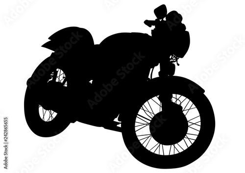 Retro motorcycle one white background
