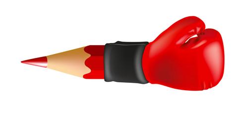 Concept du journalisme d'investigation qui révèle un scoop avec un stylo plume associé à un gant de boxe.