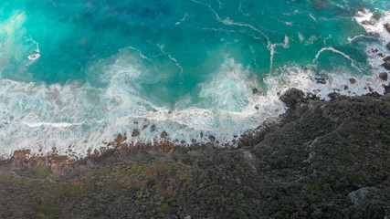 Beautiful coastline along the ocean, aerial view