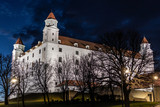 Bratislava Castle at night in Slovakia. Central and most important castle in Bratislava