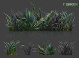 Spring. Dark green grass, 3d realistic vector icon set - 242879627