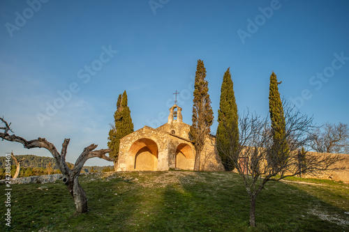 Chapelle Saint-Sixte in Eygaliere in Provence, south of France at Sunset.