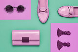 Fashion Design Woman Accessories Set. Pop Art Colors. Trendy Handbag Clutch, Summer Sunglasses, Earrings. Flat lay. Glamor Shiny Shoes. Luxury Minimal Outfit - 242886077