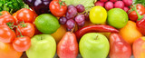 Background of fresh fruits and vegetables .