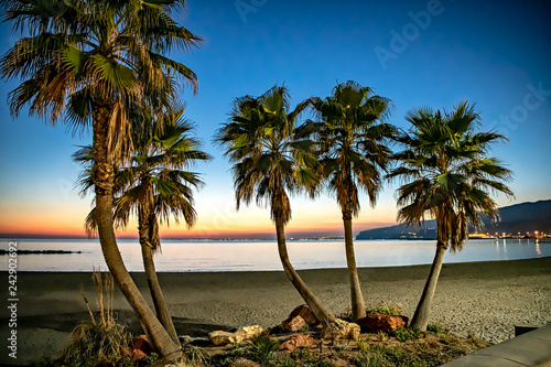 Mediterranean beach of Alicante, at dusk.
