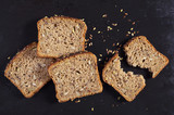 Bread with pumpkin seeds, sunflower and flax - 242908813