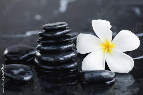 Plumeria flower and spa stones