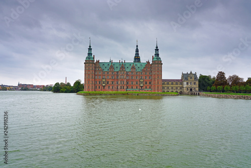 View of the Frederiksborg Castle, a landmark historic a palatial complex located in Hillerød, Denmark.