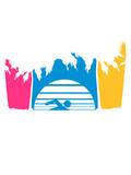 bunt urlaub palmen insel strand meer ferien wasser wellen cool logo design piktogramm baden schwimmbad sport spaß tauchen hallenbad clipart schwimmer - 242923839