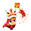 Super Cute Cartoon Happy Chinese New Year Lion Dance Boy
