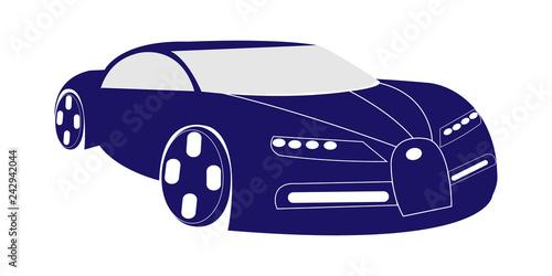 Vector illustration of dark blue super car - 242942044