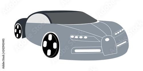 Vector illustration of gray super car - 242943443