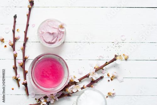 Moisturizers and peach flowers