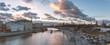 Panorama of beautiful sunset over Moskva river, traffic jam near Kremlin and a touristic boat cruising