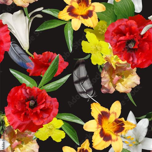 floral design seamles, bouquets on black background